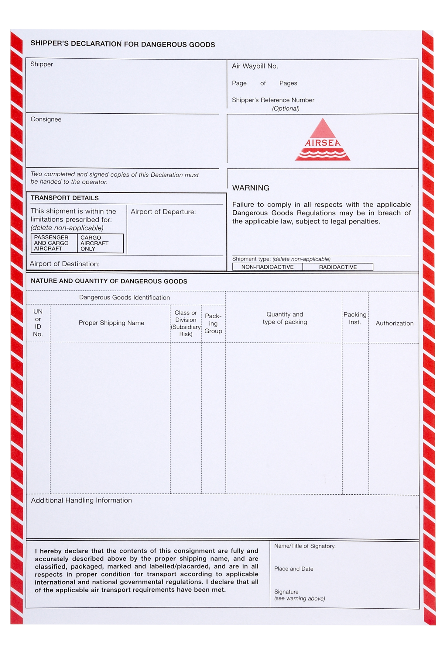 hazmat declaration form - Heart.impulsar.co